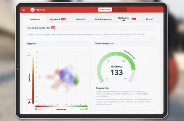 Nová podoba mySASY na webu po aktualizaci myUPGRADE. Tréninková kapacita myHRV a úroveň kompenzace myCOMPENSATION.