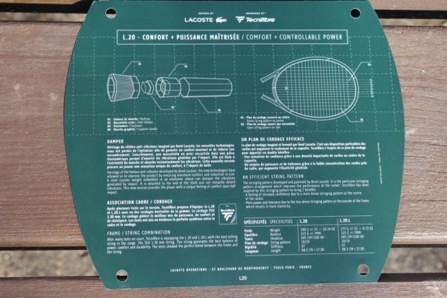 Detaily o strunách a vzoru výpletu raket Lacoste L20 a L20L.