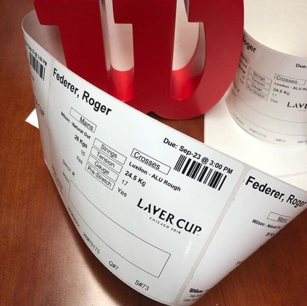 Detaily o vypletení rakety Rogera Federera pro Laver Cup 2018 v Chicagu.