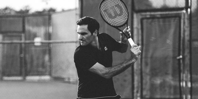 Roger Federer s raketou Wilson Pro Staff