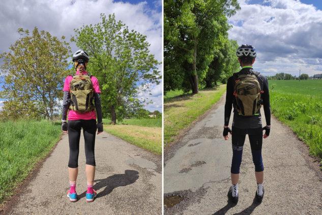 Pro vaši představu, jak vypadá batoh na ženě (171 cm) a muži (184 cm).